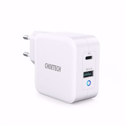 Picture of Choetech Choetech PD EU 65W USB-A/USB-C Dual Mains Charger in White (No Cable)